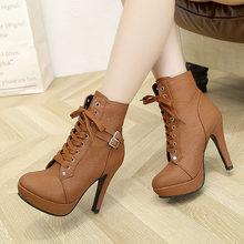 Plardin artı boyutu 35-43 Kadın Botları Kış martin bilekli çizme kadın Toka Dikiş Motosiklet Boots Ayakkabı Kadın Platformları(China)