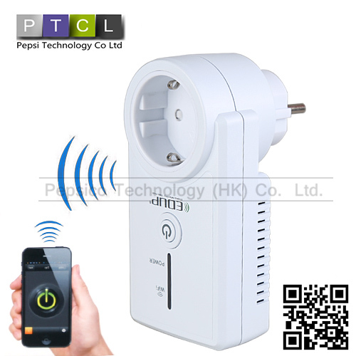 Wireless Wifi EU Wall Wi fi Remote Control Switches Smart Socket Remote Controlled Via Internet / LAN, Supported Android iOS(China (Mainland))