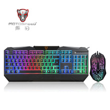 MOTOSPEED Pro Gaming LED Backlit Keyboard and Optical Mouse Combo Set 104 Keys 4 Buttons Wired Game Kit for PC Laptop Game Lover(China (Mainland))
