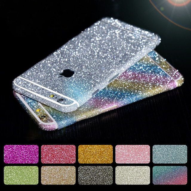 20pcs/Lot Luxury Bling Full Body Decal Glitter Sticker for iPhone 4/5S/6/6S/6Plus Phone Cases Cover Protective Film 10 Colors(China (Mainland))