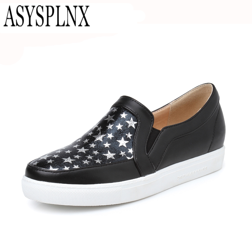 ASYSPLNX black red white round toe slip platform women shoes,2016 new spring Autumn casual work woman's shoes female Flats - Store store