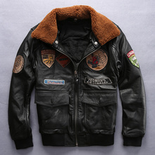 Buy men's air force flight jacket wool collar leather pilot jacket thick cowskin winter leather jacket men cotton liner leather coat for $264.96 in AliExpress store