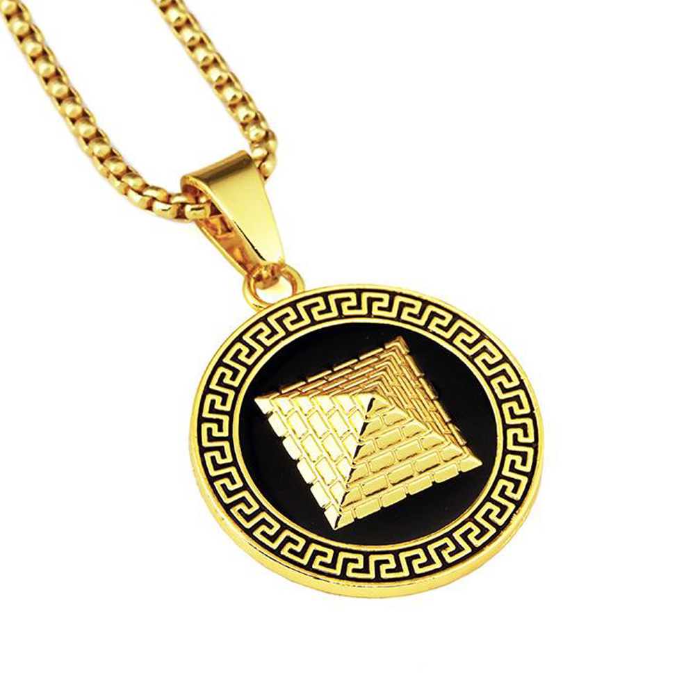 Pyramid Necklace GOLD CHAIN For Men / Women Hip Hop NECKLACE 18k Gold Plated Egyptian pyramids Fashion JEWELRY Pendant(China (Mainland))