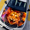 Car styling HD inkjet Burning Tigers Hood stickers car Waterproof Protective film Animal stickers 135 150cm