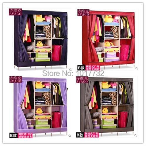 New arrivel 135*46*180cm 7 frames Grey gray purple coffee rose burgundy green folding wardrobe bedroom furniture closet clothes<br><br>Aliexpress