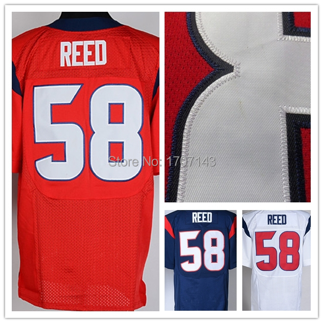 58 Brooks Reed Jersey,Cheap American Football Jersey,Rugby Embroidery Shirt,Houston Elite Jersey,Authentic sport Jersey 5XL(China (Mainland))