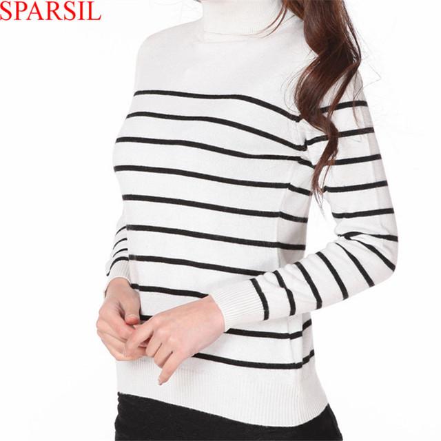 Sparsil женщин зима мягкая смесь кашемира свитер трикотажные перемычка мода и свободного ...