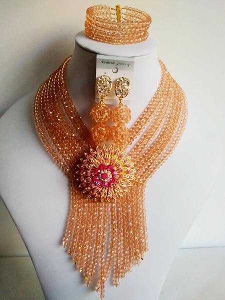 Classic African beads jewelry set peach crystal beads bride jewelry nigerian wedding african beads jewelry Set GG-459(China (Mainland))