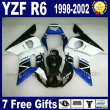 Buy Custom motorcycle fairings kits YAMAHA YZFR6 1998 1999 2001 2002 white blue YZF R6 98 99 01 02 body repair Fairings for $346.84 in AliExpress store