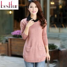 Autumn winter casual women elegant Knitted long sweaters Turn-down Collar casual full Sleeve pullovers sweater Brand female tops(China (Mainland))