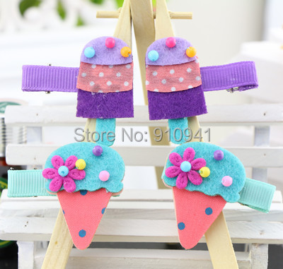 Fashion Cute Bead Ice Cream Baby Hairpins Ribbon Dot Cotton Flower Hair Clips in Girl's Hair Accessories Free Shipping,HJ3019(China (Mainland))