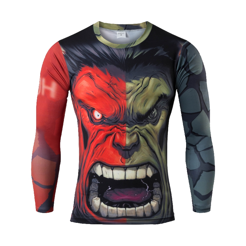 Mens Gym Clothing Sport Fitness t shirt 3D Superman/Captain America Long Sleeve tights T-Shirt Men Crossfit Compression Running(China (Mainland))