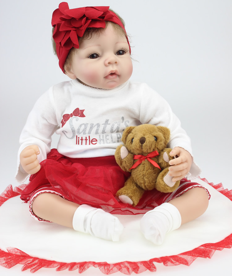 22 inch Sili22 Inch Silicone Reborn Baby Dolls Real Look Baby Alive Soft Girl Doll Christmas Toys Gift<br><br>Aliexpress