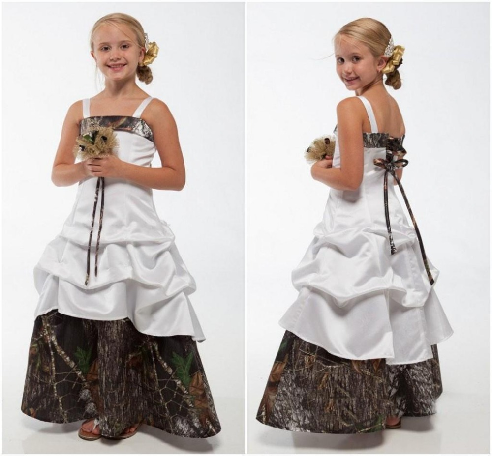 Camo Flower Girl Dresses Spaghetti Lace-up Back Floor Length with Three Tiers White A Line Custom Made Cheap 2015 Toddler Dress(China (Mainland))