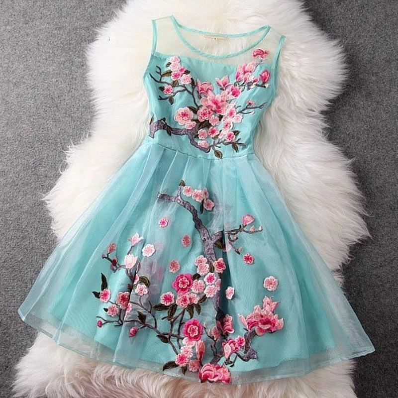 woman dress summer 2016 new High quality embroidery Retro clothing sleeveless Slim spring Dress XXL elegant Flower party dresses(China (Mainland))