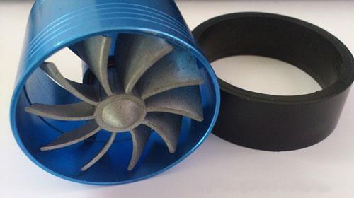 "Free Shipping New 5Pcs/lot Aluminum 55,000R/Min Car Single Turbo 2.5"" 3"" Air Intake Fuel Gas Saver Fan Blue(Hong Kong)"