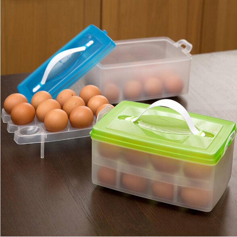 Double Layer Plastic Eggs Storage organizer Refrigerator Fruits food vegetables Box Preservation basket kitchen tools(China (Mainland))
