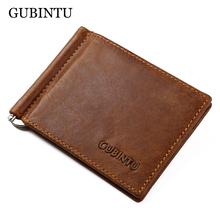 GUBINTU Brand Men Genuine Leather Bifold Purse Billfold Wallet Money Clip(China (Mainland))