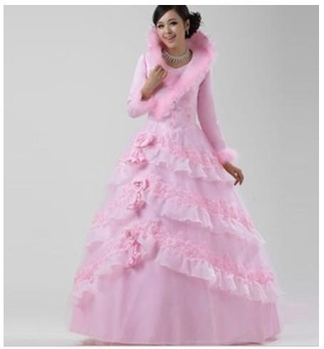 Wedding sweet pink princess dress winter clip cotton for Long sleeve turtleneck wedding dress
