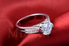 S925 luxury wedding ring simulate diamond jewelry round white gold filled bague engagement rings for women