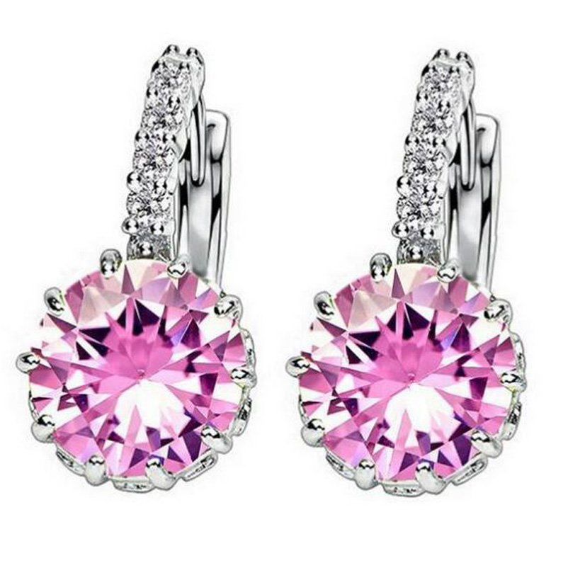 Fashion Alloy Silver-Plated Geometry Crystal Earring Simple Jewelry Design Round Zirconia Earrings Statement Women XY-E122 - XY Company (Min order $8 store)