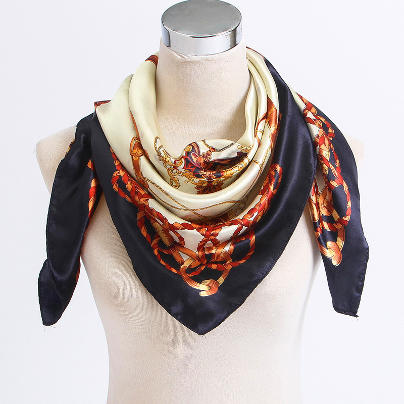 LING/New Arrival Big Square Women Scarf Printed,Fashion Accessories Satin Female Silk Scarf,New Design Beige Silk Shawl #FJ0017(China (Mainland))
