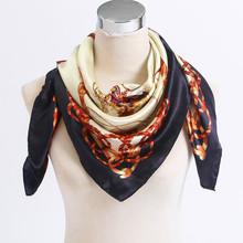 New Arrival Big Square Women Scarf Printed,Fashion Accessories Satin Female Silk Scarf,New Design Beige Silk Shawl #FJ0017(China (Mainland))