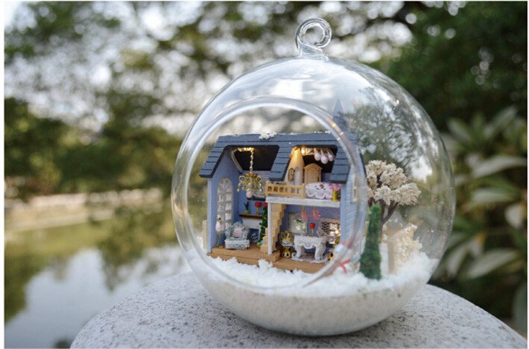 Miniature Kit Glass Cover Doll house Voice control Light turn on/off