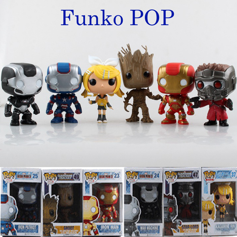 Funko POP Marvel Patriot Iron Man Guardians of the Galaxy Action Figure Groot Rocks Vinyl Bobble Head Toy Collectible Gift(China (Mainland))