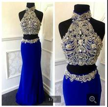 Royal Blue Prom Dress Luxuriant Beaded Two Piece Style prom Gowns Vestido De Festas Longo 2016 prom gowns(China (Mainland))