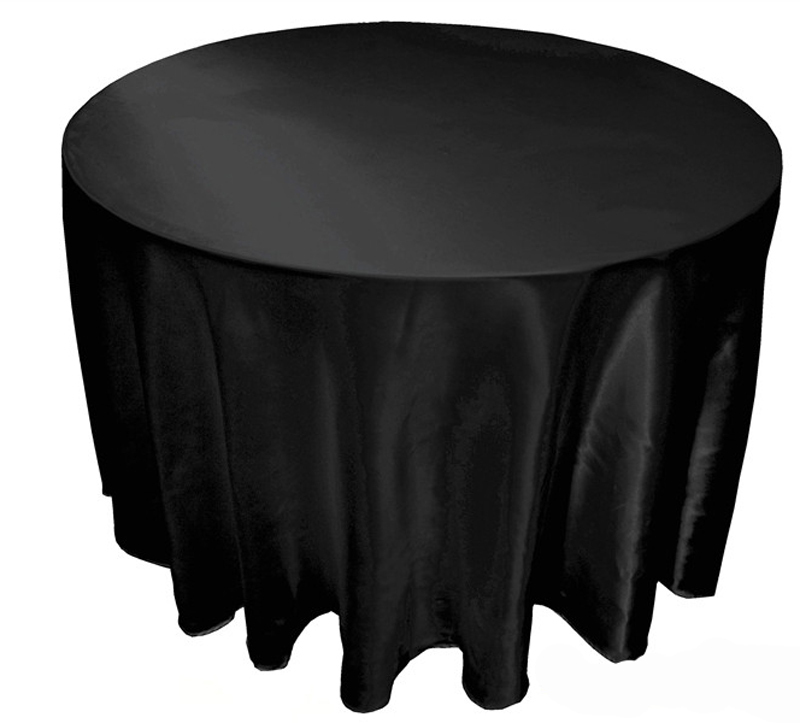 """10 pcs/lot 90"""" -120""""Tablecloth Table Cover White Black Round Satin for Banquet Wedding Party Decoration Free by DHL/EMS(China (Mainland))"""