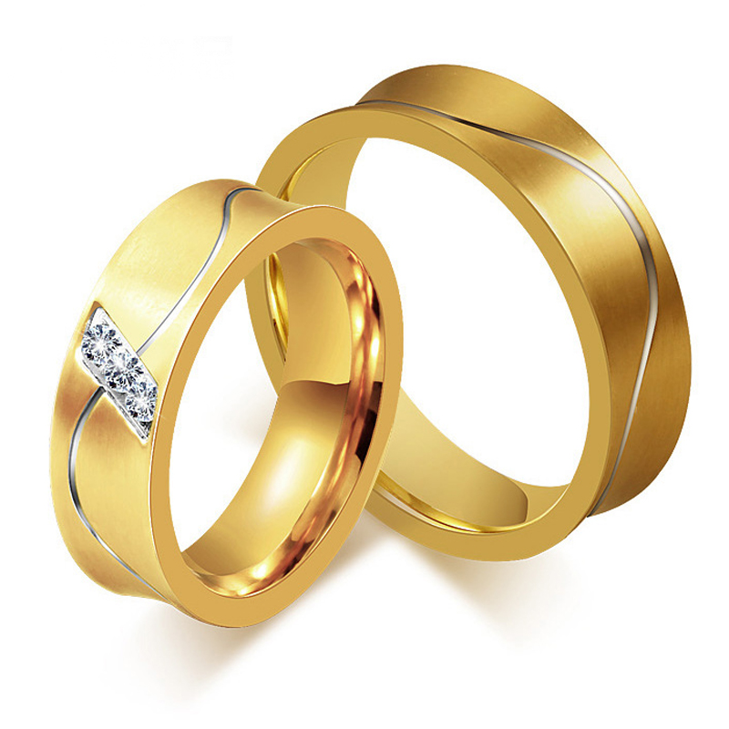 alibaba express real 18k gold plated wedding rings china supplier stainless steel couple wedding bands for man woman SS1646(China (Mainland))