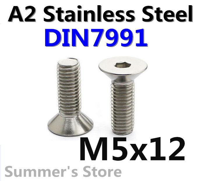 100pcs/lot DIN7991 Metric M5*12mm Countersunk Head Flat Head Hex Socket Cap Screw M5x12mm Free Shipping 304 Stainless Steel(China (Mainland))