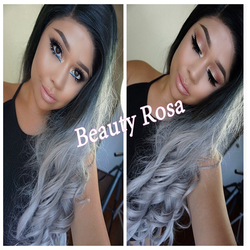 2015 Hot Ombre Grey Wig Synthetic Lace Front Glueless Long Natural Black 1B/Gray Heat Resistant Hair Wigs Big Curl Free Shipping<br><br>Aliexpress