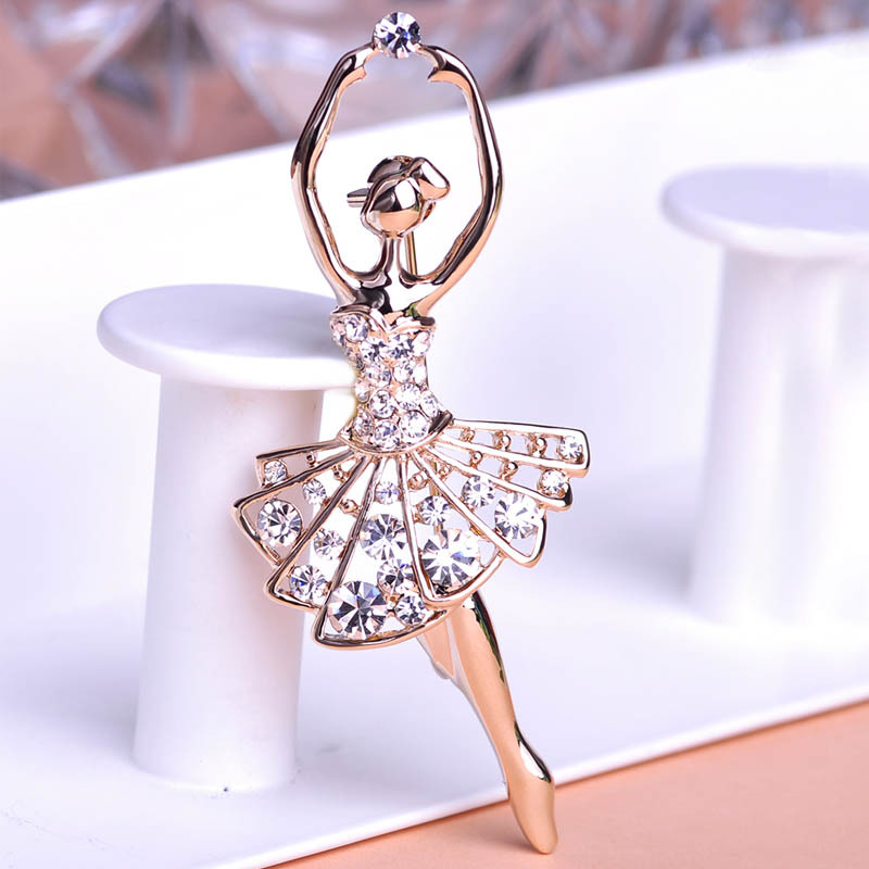 Ballet Dancer Ballerinas Brooches Women Girls Cachecol Hijab Pin Up Clips Scarf Shoulder Corsages Bouquet Joias Ouro 18K Bijoux(China (Mainland))