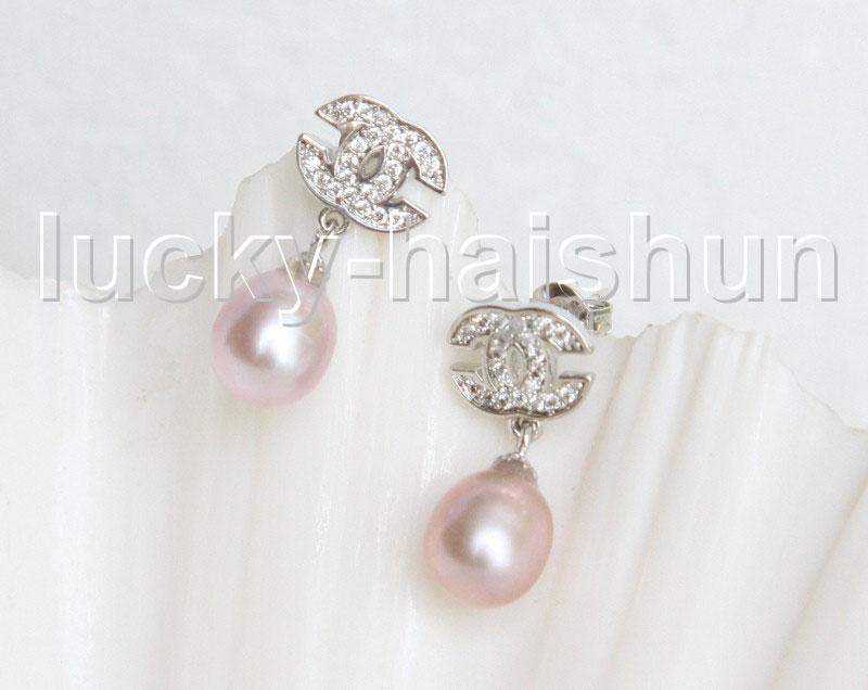 Drop Dangle Stud 10mm white pink purple black brown pearls Earrings Platinum Plated j11475