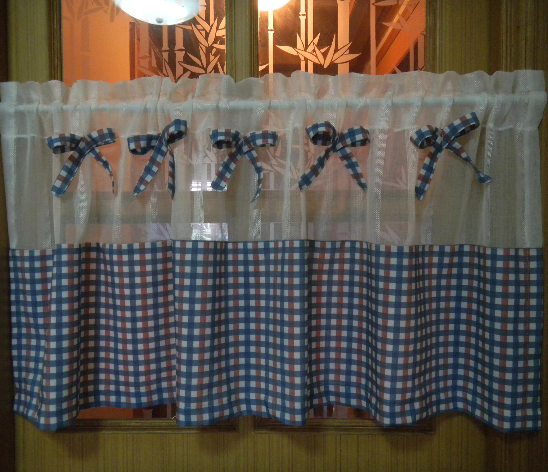 blue plaid short curtain finished product translucidus kitchen curtains coffee