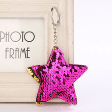 Llavero lindo gato sirena estrella brillo pompón lentejuelas llavero regalos mujeres Llaveros Mujer bolso de coche encantos accesorios llavero(China)
