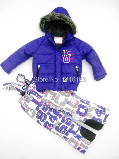 New arrive children snow suit windproof ski jackets+pant kids' winter kid's outdoor wear ski sets good quality -20-30 degree(China (Mainland))