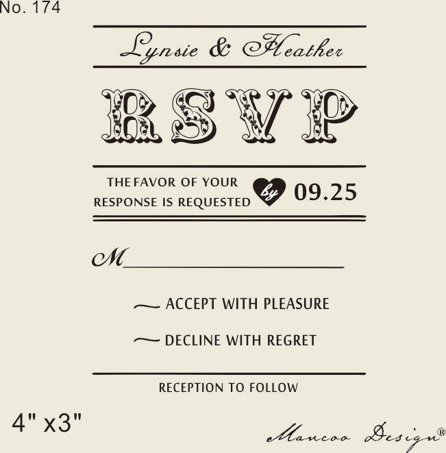 Custom rubber stamp 4quotx3quot wedding invitation diy for Wedding rsvp cards stamps