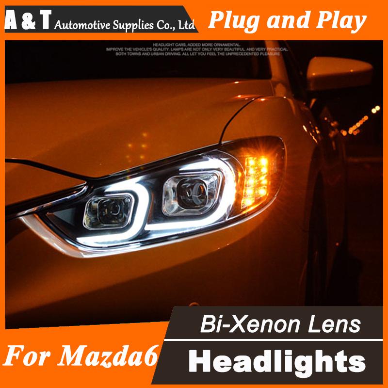 Car Styling for Mazda6 Atenza LED Headlight Mazda 6 Headlights C DRL Lens Double Beam H7 HID Xenon Car LED Light(China (Mainland))