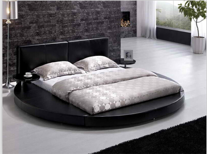 Round beds round king size beds modern bedroom furniture with genuine leather Black(China (Mainland))