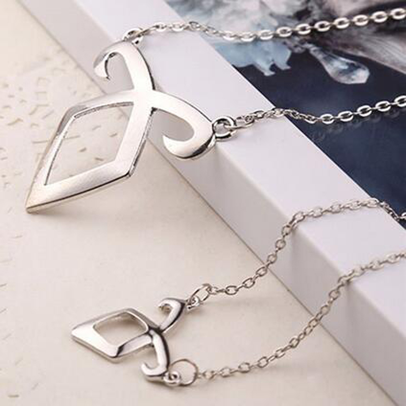Movie Film Jewelry City of Bones Necklace Angelic Forces Collar The Mortal Instruments Angelic Power Runes Pendant Angels force(China (Mainland))