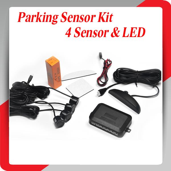 Human speaker Car LED Parking Sensor Kit 4 Sensors No Drill Hole Saw 22mm Display Reverse Backup Radar Monitor System 10 Colors(China (Mainland))