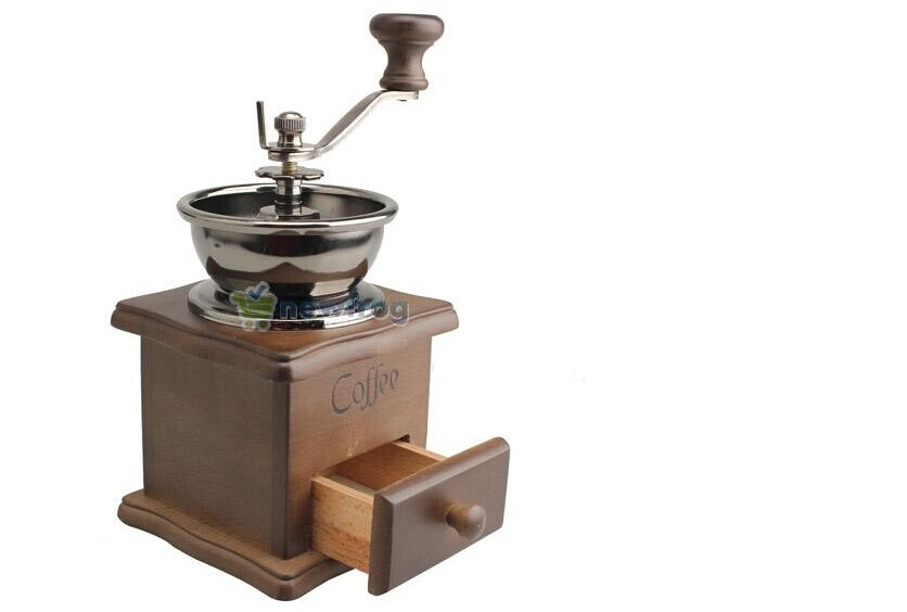 Mini Manual Coffee Mill Wood Stand Bowl Antique Hand Coffee Bean Grinder <br><br>Aliexpress