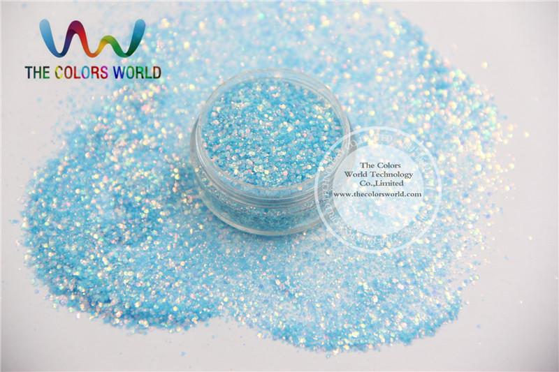 TCR37-H1 Mix Rainbow Blue With Gold Light Colors glitter dust for nail Art or other DIY decoration(China (Mainland))