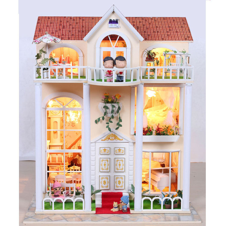 13823 Hongda large diy wooden dollhouse villa doll house voice LED lights miniatures for decoration toys girls(China (Mainland))