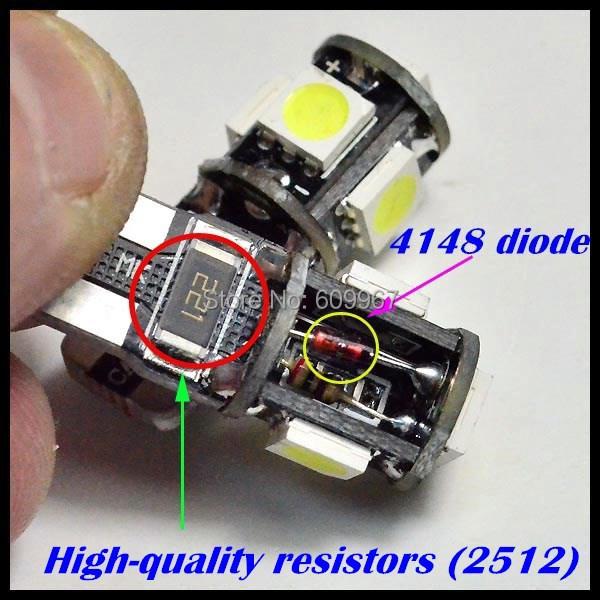 Wholesale 10pcs/Lot Canbus T10 5smd 5050 LED car Light Canbus W5W 194 5050 SMD Error Free White Light Bulbs(China (Mainland))