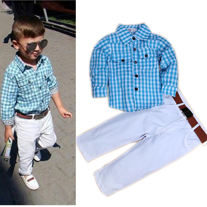 Hot Sale font b Boys b font Boutique Formal Clothes Set Plaid Kids Outfits font b