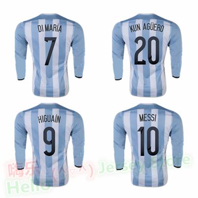 2015 2016 long sleeve Argentina Soccer Jersey Home DI MARIA 7 MESSI 10 20 KUN AGUERO 11 TEVEZ 9 HIGUAIN Football shirts 15 16(China (Mainland))